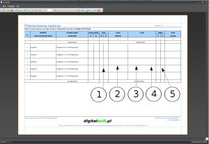 Zrzut ekranu nr 7 - Przykład wydruku potwierdzenia nadania z elementami umożliwiającymi ich konfigurację