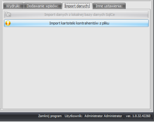 Zrzut ekranu nr 9 - Zakładka przedstawiająca opcję importu z poziomu modułu do konfiguracji programu